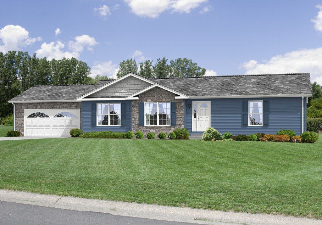 Description standards features options contact us about for Ranch homes with vinyl siding